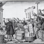 Sale of Indulgences (circa 1530, woodcut by Jörg Breu the Elder)