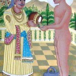 Mahavira (R) accepting alms