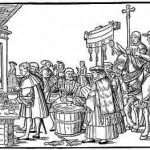 This wood engraving from the early 1500s depicts the sale of indulgences. The Pope's bull authorizing the sale hangs on a cross. (Jorg Breu the Elder)