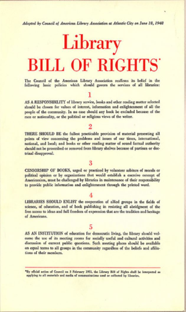 """June 18: American Library Association Adopts """"Library Bill of ..."""
